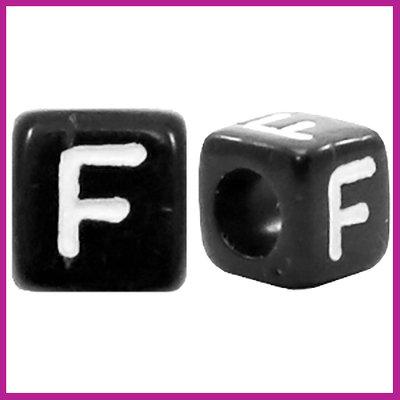 Letterkraal acryl zwart/wit blokje 6x6 mm F