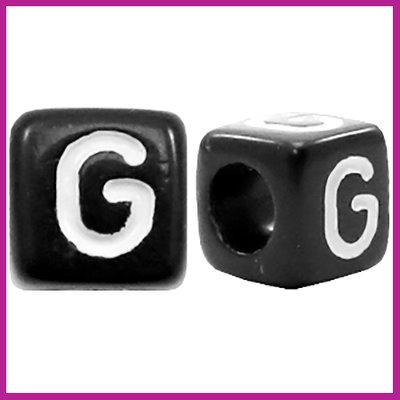 Letterkraal acryl zwart/wit blokje 6x6 mm G