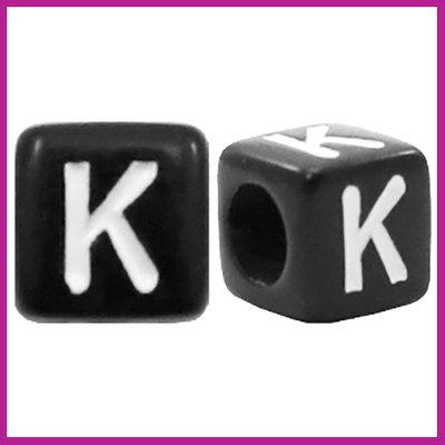 Letterkraal acryl zwart/wit blokje 6x6 mm K