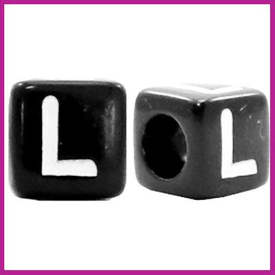 Letterkraal acryl zwart/wit blokje 6x6 mm L