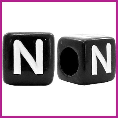 Letterkraal acryl zwart/wit blokje 6x6 mm N