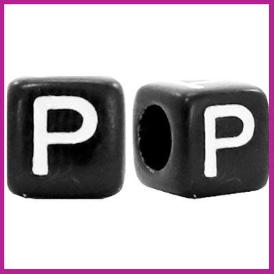 Letterkraal acryl zwart/wit blokje 6x6 mm P