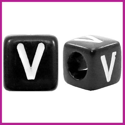 Letterkraal acryl zwart/wit blokje 6x6 mm V