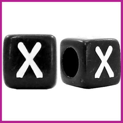 Letterkraal acryl zwart/wit blokje 6x6 mm X
