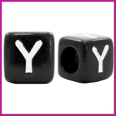 Letterkraal acryl zwart/wit blokje 6x6 mm Y