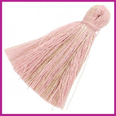 Kwastje basic goldline 3cm Antique pink