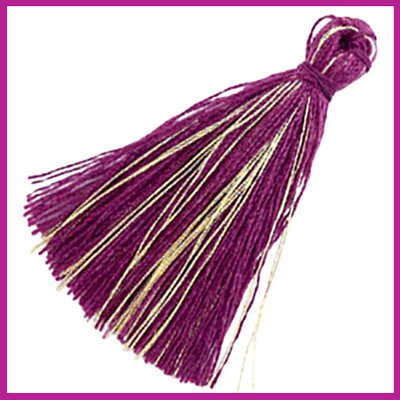 Kwastje basic goldline 3cm Aubergine purple