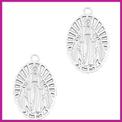 Bohemian metaal bedel Jezus ovaal zilver