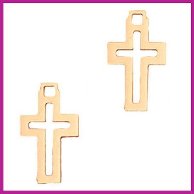 Bohemian metaal bedel open kruis rosegold