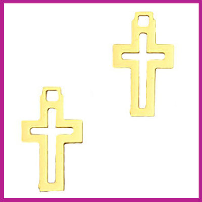 Bohemian metaal bedel open kruis gold