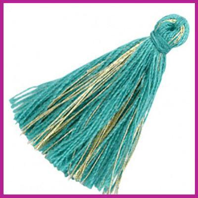 Kwastje basic goldline 3cm Ocean green