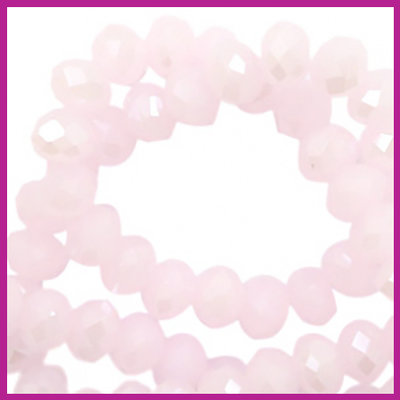 Glaskraal top facet disc 6x4mm Light pink - pearl shine coating