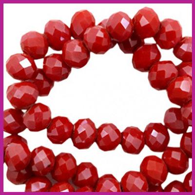 Glaskraal top facet disc 6x4mm Siam red - pearl shine coating
