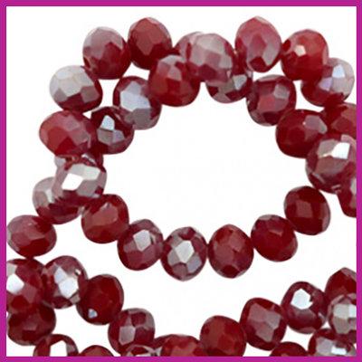 Glaskraal top facet disc 6x4mm Rumba red silver - pearl shine coating