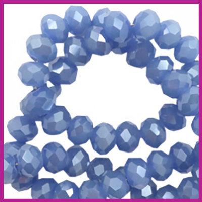 Glaskraal top facet disc 6x4mm Supreme blue - pearl shine coating