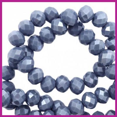 Glaskraal top facet disc 6x4mm Light denim blue - pearl shine coating