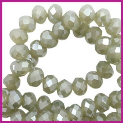 Glaskraal top facet disc 6x4mm Olive green - pearl shine coating