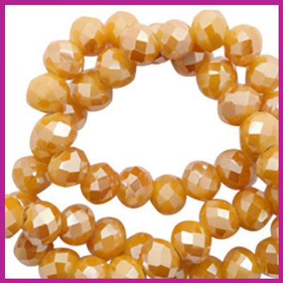 Glaskraal top facet disc 6x4mm warm yellow gold - pearl shine coating