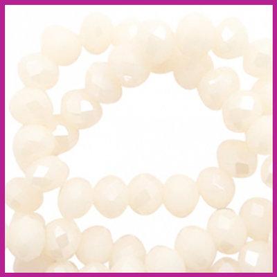 Glaskraal top facet disc 6x4mm Cream blush - pearl shine coating