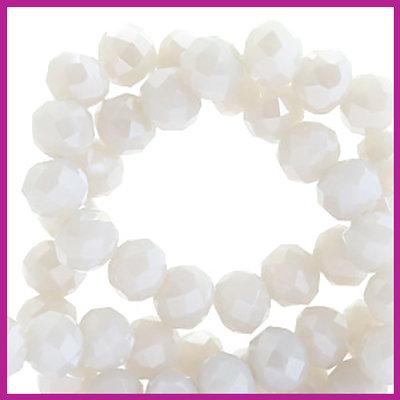 Glaskraal top facet disc 6x4mm Beige grey - pearl shine coating