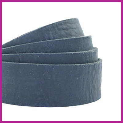 DQ plat leer 20mm dark denim blue