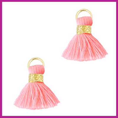 Kwastje mini Ibiza 1,5cm goud fluor light pink