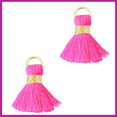 Kwastje mini Ibiza 1,5cm goud fluor pink