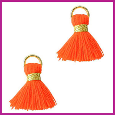 Kwastje mini Ibiza 1,5cm goud fluor orange red