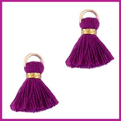 Kwastje mini Ibiza 1,5cm goud purple