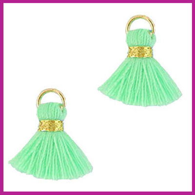 Kwastje mini Ibiza 1,5cm goud light green