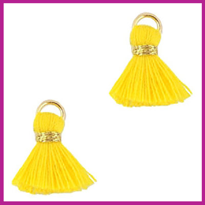 Kwastje mini Ibiza 1,5cm goud mimosa yellow