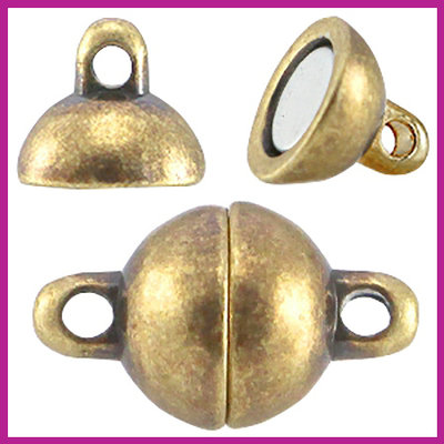 DQ metaal magneetslot bol 8mm antiek brons