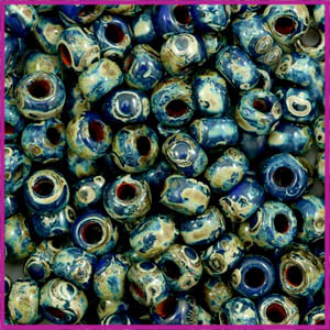 Miyuki rocailles 6/0 opaque picasso cobalt blue