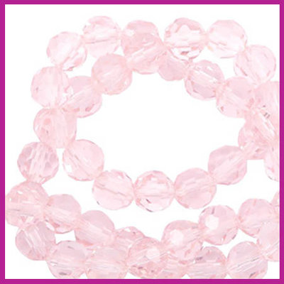 Glaskraal top facet rond 4mm cradle pink