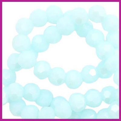 Glaskraal top facet rond 4mm light clearwater blue pearl shine coating