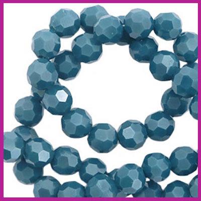 Glaskraal top facet rond 4mm dark mosaic blue pearl shine coating