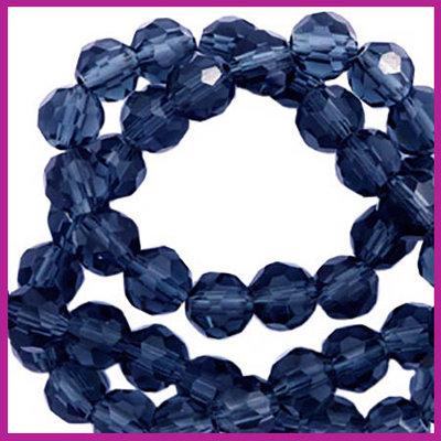 Glaskraal top facet rond 4mm montana blue