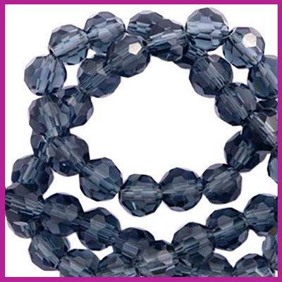 Glaskraal top facet rond 4mm nightshadow blue