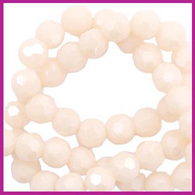 Glaskraal top facet rond 4mm beige nude peach pearl shine coating