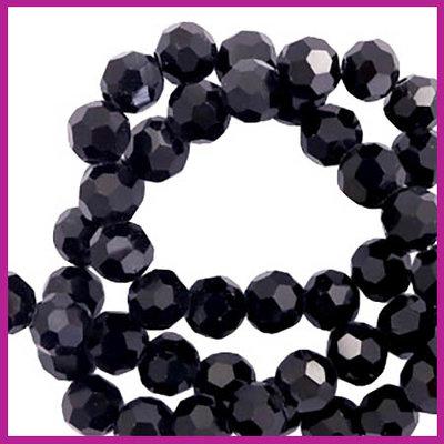 Glaskraal top facet rond 4mm black pearl shine coating