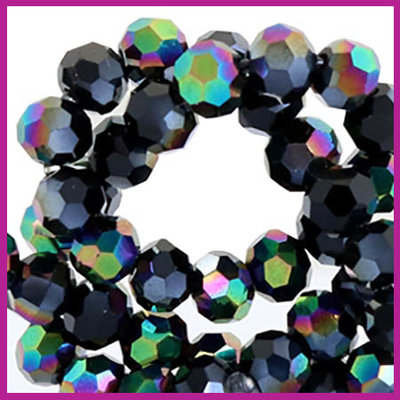 Glaskraal top facet rond 4mm jet black hematite diamond shine coating