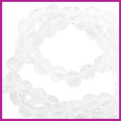 Glaskraal top facet rond 4mm crystal