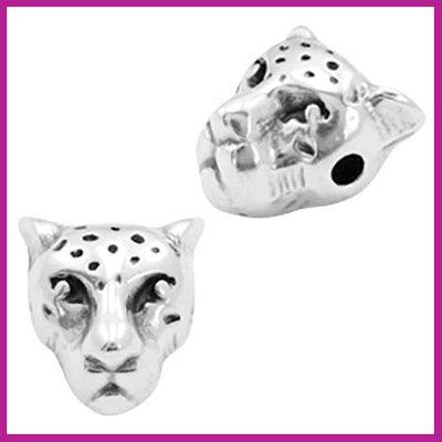 DQ metaal kraal luipaardkop Antiek zilver