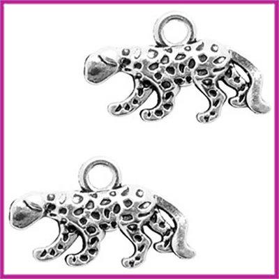 BQ metaal hanger luipaard Antiek zilver