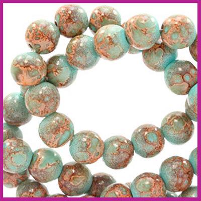 Glaskralen rond 6mm stone look turquoise brown