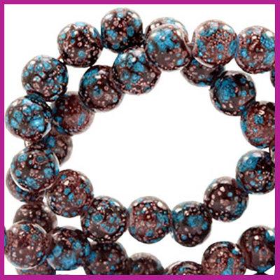 Glaskralen rond 6mm stone look dark brown - turquoise