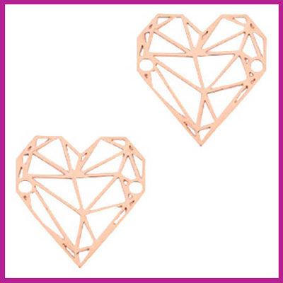 Bohemian metaal bedel / tussenstuk geometric heart rosegold