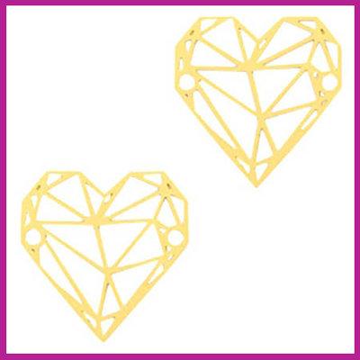 Bohemian metaal bedel / tussenstuk geometric heart goud
