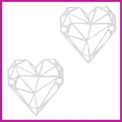Bohemian metaal bedel / tussenstuk geometric heart zilver