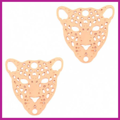 Bohemian metaal bedel / tussenstuk leopard rosegold